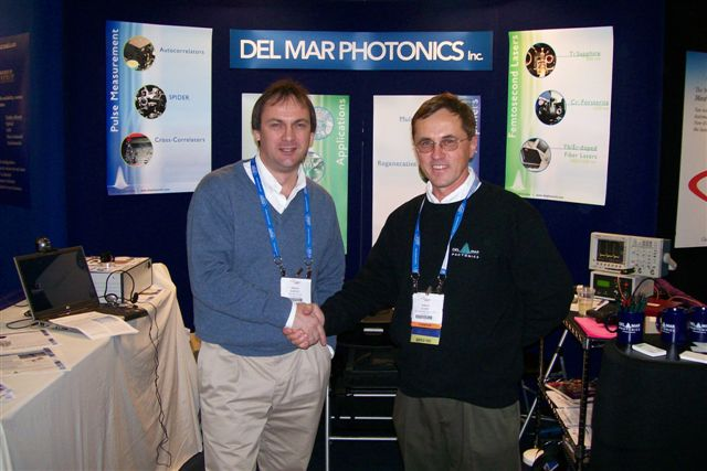 President and CEO of Tekhnoscan Sergey Kobtsev and President and CEO of Del Mar Photonics Sergey Egorov shaking hands after reaching partnership agreement during Photonics West 2007 in San Jose, California